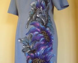 Sukienka z angory BŁĘKITNY IRYS CHIŃSKI