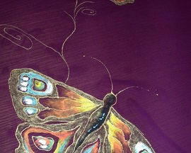 Szal motyl oberżyna