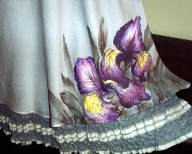 Suknia dwuwarstwowa z żabotem IRYS SZARY