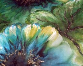 Szal niebiesko-zielony hibiskus