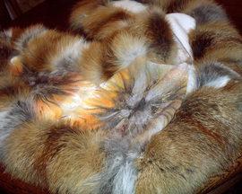 Etola: tkanina wełniana, obszycie z naturalnych skór (rudy lis), ręcznie malowane ornamenty kwiatowe, cena: 420 PLN