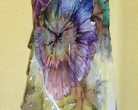 Szal z surówki bawełnianej z malowaną koronką HIBISKUS MULTIKOLOR