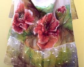 Szal z surówki bawełnianej z malowaną koronką MAK