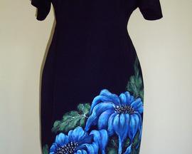 Sukienka z wełny NIEBIESKI IRYS CHIŃSKI