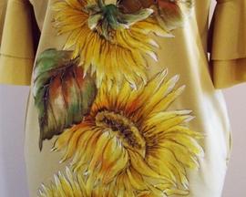 Sukienka ręcznie malowana MAK ŻÓŁTY