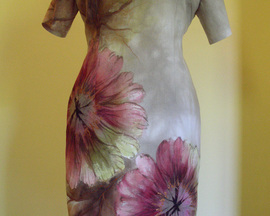Sukienka CIENIOWANY LEN HIBISKUS