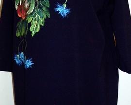 Sukienka ręcznie malowana granat MAK