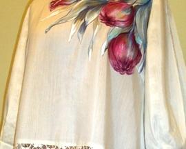 Tunika ręcznie malowana JEDWAB TULIPAN