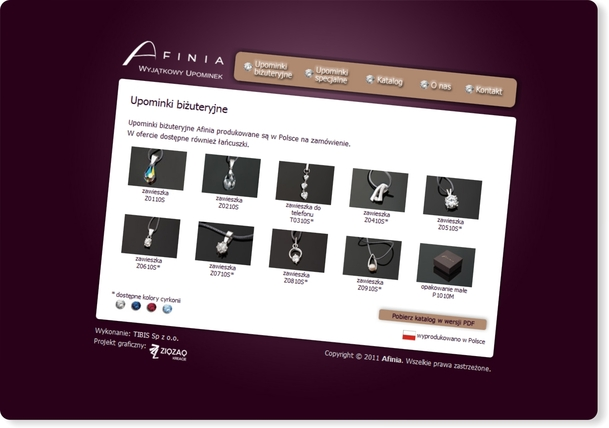 Strona internetowa Afinia