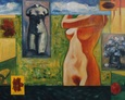 Akt w Ogrodzie 100na130 Olej, Płótno 1998 rok