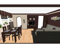 Pokój gościnny z aneksem jadalnym - widok od ściany Pd.