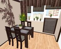 Pokój gościnny z aneksem jadalnym - widok od wejścia na część jadalną