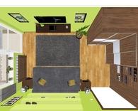 Pokój / sypialnia z balkonem - widok z góry, ze złożonym łóżkiem