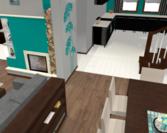 Widok na salon i kuchnię od str drzwi tarasowych