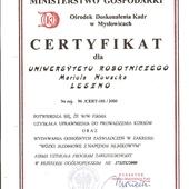 Certyfikat uprawniający do prowadzenia kursów KIEROWCY WÓZKÓW JEZDNIOWYCH i wystawiania ZAŚWIADCZEŃ o ukończeniu kursu