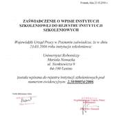 Zaświadczenie o wpisie do Rejestru Instytucji Szkoleniowych