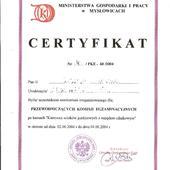 Certyfikat Przewodniczącego Komisji Egzaminacyjnej kursu KIEROWCY WÓZKÓW JEZDNIOWYCH