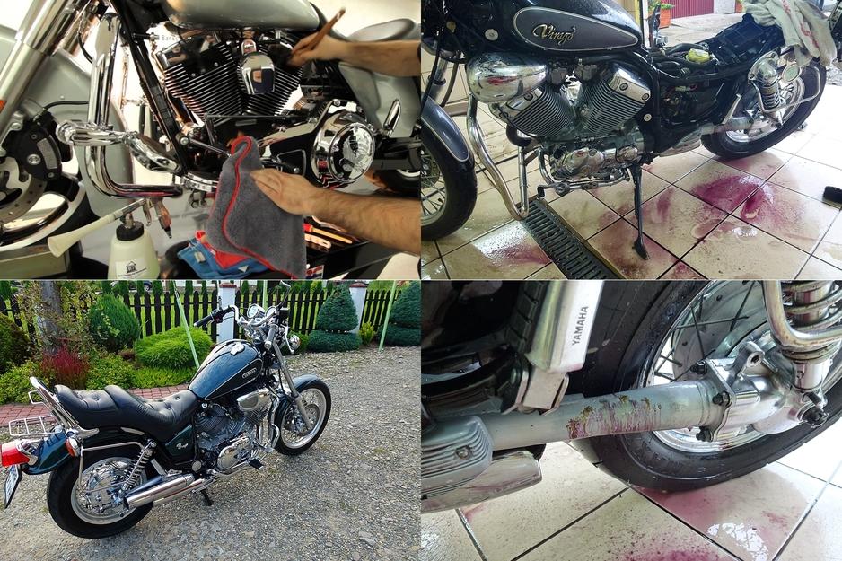 Detailing motocykli: Detailing motocykli łączy w sobie wszystkie cechy typowe dla naszych usług dedykowanych samochodom z szczególną dokładnością i zaawansowanym demontażem niezbędnym w tego typu pojazdach, tak by precyzyjnie usunąć wszystkie zabrudzenia.