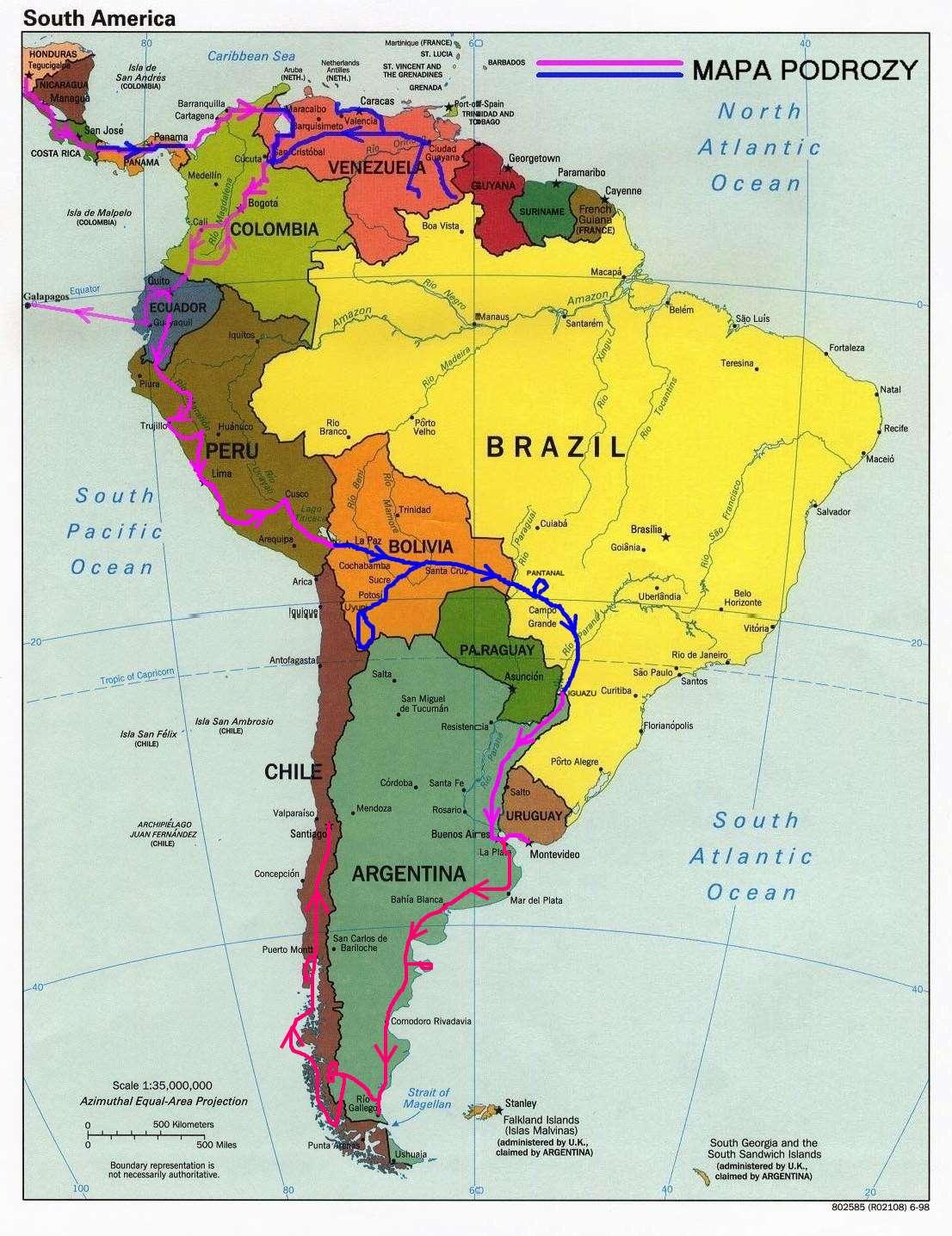 Ameryka Poi I Udniowa Mapa Polityczna Ze Stolicami