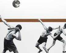 """Są pewne granice"" olej, len, kolaż, 120x140 cm 2018"