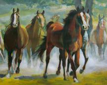 Konie w galopie II, akryl, 30x40