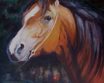 Koń brązowy, akryl, 70x50