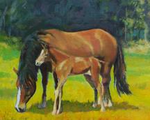 konie I, akryl, 21x30