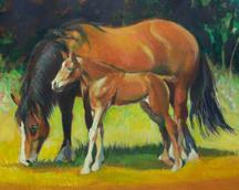 Konie II,  akryl, 30x40