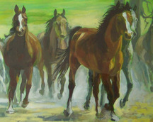 Konie w galopie I, akryl, 30x40