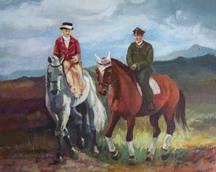 Para na koniu, akryl, 50x60