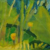 Lilie wodne (szkic), akryl, 40x50