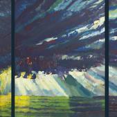Zachód słońca I, tryptyk, akryl 60x150, 2011r.