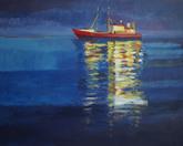 Czerwony statek, akryl 80 x 100