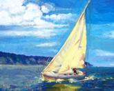 Żaglówka I, akryl,19 x 29  (sprzedany)
