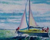 Żaglówka II 19 x 29, akryl