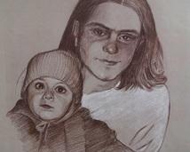 Rafał i Sebastian, ołówek, 30x25(sprzedany)
