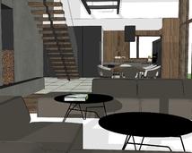salon ze ścianą z betonu architektonicznego