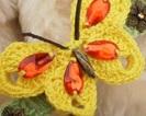 Klamra z szydełkowym motylkiem (prywatne)