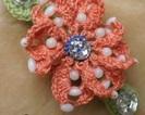 Klamra z szydełkowym kwiatkiem