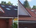 Dach z dachówki cementowej.