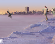 Wiatr Ze Wschodu (2006)  Warszawa utopiona w zimnym poranku postapokaliptycznej nuklearnej zimy i ludzie błądzący w swojej ponurej wegetacji niczym ślepcy w ogrodach przygasających świateł przeszłości.