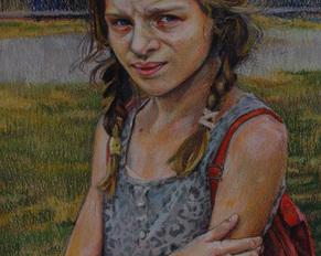 """""""Dziewczynka w czerwonym plecaku"""" 70x50, pastel olejna"""