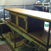 szafka rtv z drewna świerkowego, szczotkowana loft wrocław
