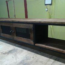 z drewna modrzewiowego szafka rtv loft