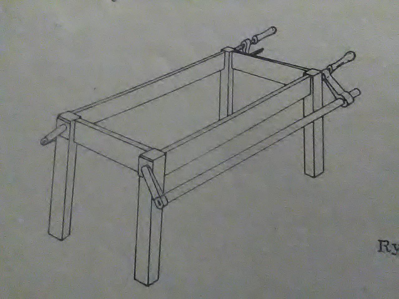 ręczny, ściskowy sposób sklejania konstrukcji stołu
