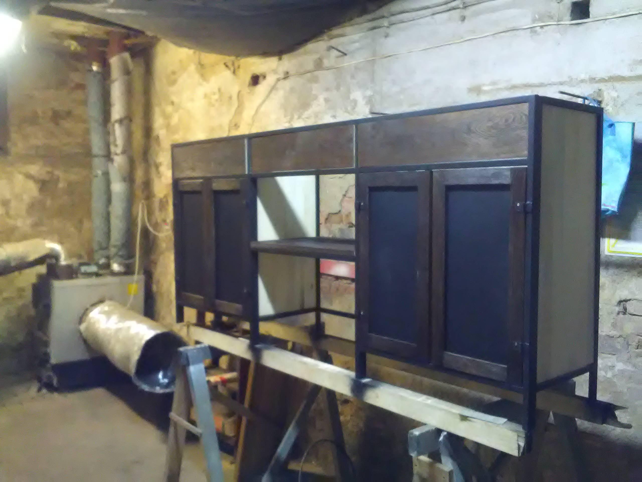 szafka łazienkowa z drewna i metalu na zamówienie wrocław