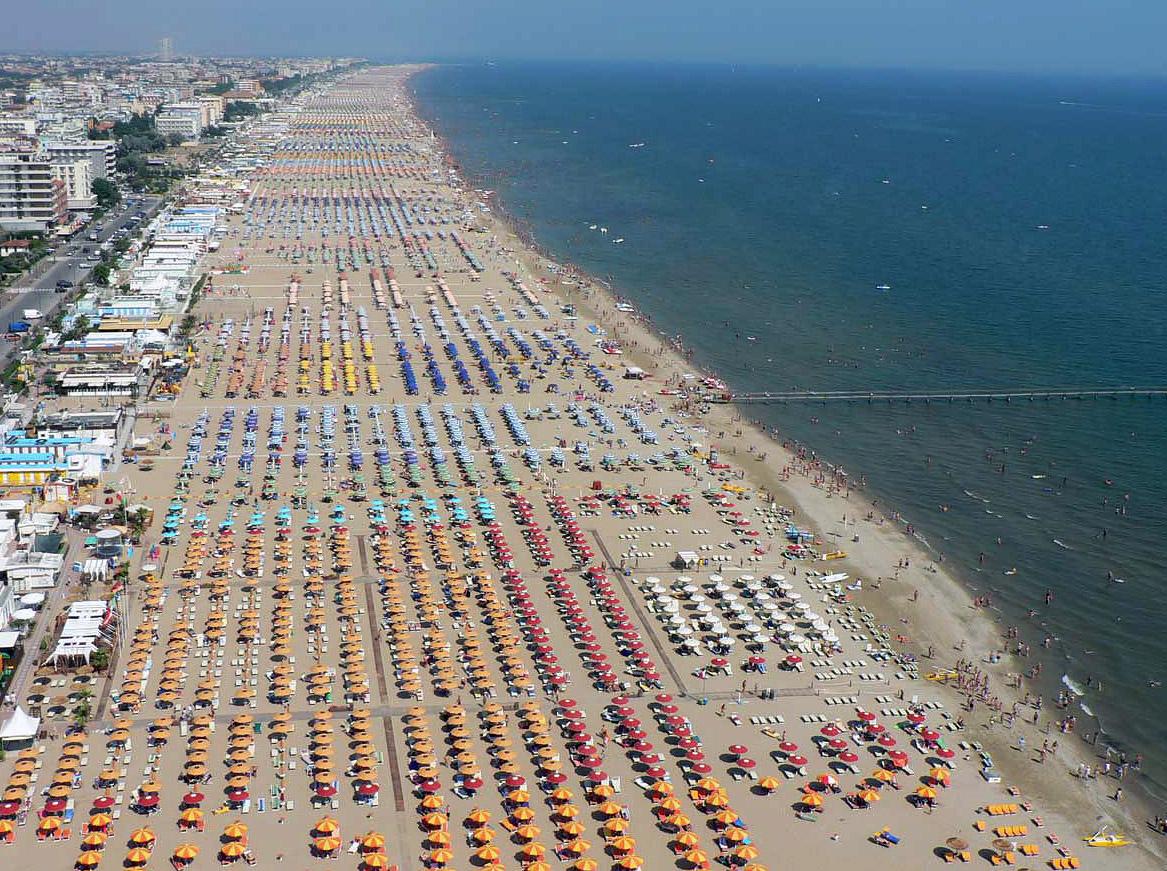 Parasols Rimini Beach Italy