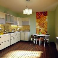 Die Küche ist groß  und hell.