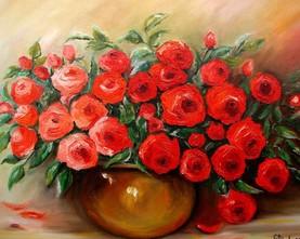 964/Róże czerwone malowane szpachlą 50-70cm 600,-