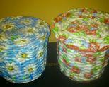 Koszyczki margaretki i róże wys 14cm, obwód 52 cm. Cena za szt 20 zł